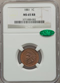 Indian Cents: , 1881 1C MS65 Red and Brown NGC. CAC. NGC Census: (112/25). PCGSPopulation (76/4). Mintage: 39,211,576. Numismedia Wsl. Pri...