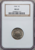 Shield Nickels: , 1868 5C MS65 NGC. NGC Census: (129/32). PCGS Population (72/24).Mintage: 28,800,000. Numismedia Wsl. Price for problem fre...