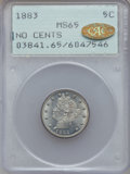 Liberty Nickels: , 1883 5C No Cents MS65 PCGS. Gold CAC. PCGS Population (1376/378).NGC Census: (1852/531). Mintage: 5,479,519. Numismedia Ws...