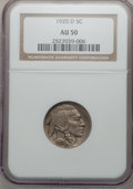 Buffalo Nickels: , 1920-D 5C AU50 NGC. NGC Census: (9/488). PCGS Population (12/557).Mintage: 9,418,000. Numismedia Wsl. Price for problem fr...
