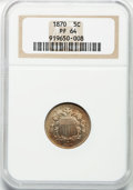 Proof Shield Nickels: , 1870 5C PR64 NGC. NGC Census: (124/80). PCGS Population (125/93).Mintage: 1,000. Numismedia Wsl. Price for problem free NG...