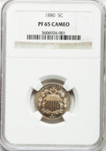 Proof Shield Nickels: , 1880 5C PR65 Cameo NGC. NGC Census: (43/67). PCGS Population(61/87). ...