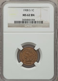Indian Cents: , 1908-S 1C MS62 Brown NGC. NGC Census: (101/194). PCGS Population(60/154). Mintage: 1,115,000. Numismedia Wsl. Price for pr...