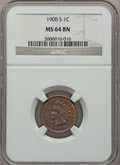 Indian Cents: , 1908-S 1C MS64 Brown NGC. NGC Census: (79/20). PCGS Population(50/3). Mintage: 1,115,000. Numismedia Wsl. Price for proble...