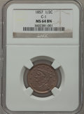 Half Cents: , 1857 1/2 C MS64 Brown NGC. C-1. NGC Census: (79/14). PCGSPopulation (34/1). Mintage: 35,180. Numismedia Wsl. Price for pr...