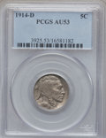 Buffalo Nickels: , 1914-D 5C AU53 PCGS. PCGS Population (34/1101). NGC Census:(14/778). Mintage: 3,912,000. Numismedia Wsl. Price for problem...