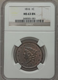Large Cents: , 1816 1C MS63 Brown NGC. NGC Census: (43/47). PCGS Population(58/28). Mintage: 2,820,982. Numismedia Wsl. Price for problem...