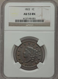 Large Cents: , 1822 1C AU53 NGC. NGC Census: (13/99). PCGS Population (9/53).Mintage: 2,072,339. Numismedia Wsl. Price for problem free N...
