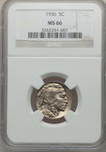 Buffalo Nickels: , 1936 5C MS66 NGC. NGC Census: (1027/92). PCGS Population (1145/97).Mintage: 119,001,424. Numismedia Wsl. Price for problem...