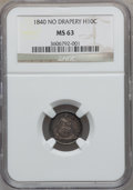 Seated Half Dimes: , 1840 H10C No Drapery MS63 NGC. NGC Census: (61/107). PCGSPopulation (58/85). Mintage: 1,000,000. Numismedia Wsl. Pricefor...