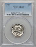 Buffalo Nickels: , 1937 5C MS67 PCGS. PCGS Population (316/5). NGC Census: (387/4).Mintage: 79,485,768. Numismedia Wsl. Price for problem fre...