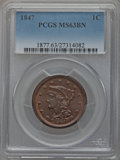 Large Cents: , 1847 1C MS63 Brown PCGS. PCGS Population (52/58). NGC Census:(76/169). Mintage: 6,183,669. Numismedia Wsl. Price for probl...
