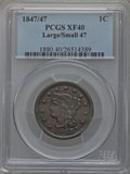 Large Cents: , 1847/47 1C Large Over Small 47 XF40 PCGS. PCGS Population (4/33).NGC Census: (2/30). Mintage: 6,183,669. Numismedia Wsl. P...