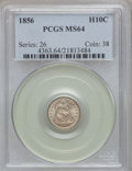 Seated Half Dimes: , 1856 H10C MS64 PCGS. PCGS Population (86/28). NGC Census: (97/109).Mintage: 4,880,000. Numismedia Wsl. Price for problem f...