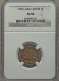 Flying Eagle Cents: , 1858 1C Large Letters AU58 NGC. NGC Census: (6/166). PCGSPopulation (97/1315). Mintage: 24,600,000. Numismedia Wsl. Price...
