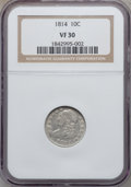 Bust Dimes: , 1814 10C Large Date VF30 NGC. NGC Census: (1/148). PCGS Population(7/125). Mintage: 421,500. Numismedia Wsl. Price for pro...