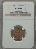 Indian Cents: , 1873 1C Open 3 MS64 Red and Brown NGC. NGC Census: (50/62). PCGS Population (202/58). Mintage: 11,676,500. Numismedia Wsl. ...
