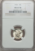 Mercury Dimes: , 1936 10C MS67 Full Bands NGC. NGC Census: (72/4). PCGS Population(180/14). Mintage: 87,504,128. Numismedia Wsl. Price for ...