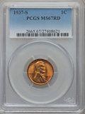 Lincoln Cents: , 1937-S 1C MS67 Red PCGS. PCGS Population (158/0). NGC Census:(374/0). Mintage: 34,500,000. Numismedia Wsl. Price for probl...
