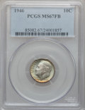 Roosevelt Dimes: , 1946 10C MS67 Full Bands PCGS. PCGS Population (39/1). NGC Census:(51/2). Mintage: 255,250,000. Numismedia Wsl. Price for ...