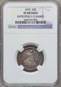 Twenty Cent Pieces: , 1875 20C -- Improperly Cleaned -- NGC Details. XF. NGC Census:(14/349). PCGS Population (42/480). Mintage: 36,900. Numisme...
