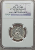 Seated Quarters: , 1879 25C -- Improperly Cleaned -- NGC Details. Unc. NGC Census:(0/183). PCGS Population (4/192). Mintage: 13,600. Numismed...