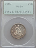Seated Quarters: , 1888 25C MS60 PCGS. PCGS Population (1/151). NGC Census: (0/123).Mintage: 10,000. Numismedia Wsl. Price for problem free N...