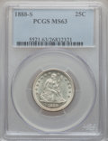 Seated Quarters: , 1888-S 25C MS63 PCGS. PCGS Population (20/33). NGC Census: (12/50).Mintage: 1,216,000. Numismedia Wsl. Price for problem f...