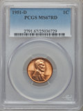 Lincoln Cents: , 1951-D 1C MS67 Red PCGS. PCGS Population (83/0). NGC Census:(174/0). Mintage: 625,355,008. Numismedia Wsl. Price for probl...