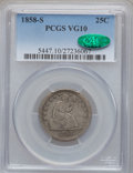 Seated Quarters: , 1858-S 25C VG10 PCGS. CAC. PCGS Population (1/52). NGC Census:(0/23). Mintage: 121,000. Numismedia Wsl. Price for problem ...