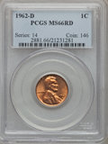 Lincoln Cents: , 1962-D 1C MS66 Red PCGS. PCGS Population (228/0). NGC Census:(411/10). Mintage: 1,793,148,416. Numismedia Wsl. Price for p...