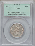 Seated Quarters: , 1870 25C AU50 PCGS. PCGS Population (4/34). NGC Census: (3/19).Mintage: 86,400. Numismedia Wsl. Price for problem free NGC...