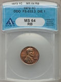 Lincoln Cents, 1972 1C Doubled Die Obverse, FS-033.3 Die 1 MS64 Red and BrownANACS. NGC Census: (238/172). PCGS Population (284/101). Min...