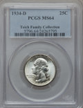 Washington Quarters: , 1934-D 25C Medium Motto MS64 PCGS. PCGS Population (498/337). NGCCensus: (358/197). Mintage: 3,527,200. Numismedia Wsl. Pr...