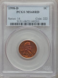 Lincoln Cents: , 1998-D 1C MS68 Red PCGS. PCGS Population (39/3). NGC Census: (0/0).Numismedia Wsl. Price for problem free NGC/PCGS coin i...
