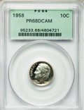 Proof Roosevelt Dimes: , 1958 10C PR68 Deep Cameo PCGS. PCGS Population (22/2). NGC Census:(12/10). Numismedia Wsl. Price for problem free NGC/PCG...