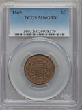 Two Cent Pieces: , 1869 2C MS63 Brown PCGS. PCGS Population (40/46). NGC Census:(31/94). Mintage: 1,546,500. Numismedia Wsl. Price for proble...