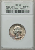Washington Quarters, 1936 25C Doubled Die Obverse, FS-011 MS62 ANACS. NGC Census:(32/1486). PCGS Population (27/2256). Mintage: 41,303,836. Num...