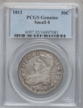 Bust Half Dollars, 1811 50C Small 8 PCGS Genuine. The PCGS number ending in .92suggests cleaning as the reason, or perhaps one of the reasons...
