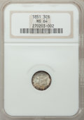 Three Cent Silver: , 1851 3CS MS64 NGC. NGC Census: (417/256). PCGS Population(370/297). Mintage: 5,447,400. Numismedia Wsl. Price for problem...