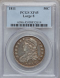 Bust Half Dollars: , 1811 50C Large 8 XF45 PCGS. PCGS Population (38/253). NGC Census:(66/704). Mintage: 1,203,644. Numismedia Wsl. Price for p...