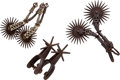 Western Expansion, Lot of Three Pair of Antique Spurs... (Total: 6 Items)
