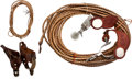 Western Expansion, Lot of Two Pairs of Western Spurs, One Riata and One Calf RopingBraided Leather Leg Tie.... (Total: 4 )