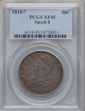 Bust Half Dollars: , 1818/7 50C Small 8 XF45 PCGS. PCGS Population (28/73). NGC Census:(37/160). Numismedia Wsl. Price for problem free NGC/PC...