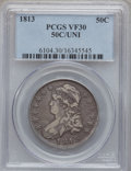 Bust Half Dollars: , 1813 50C 50C Over UNI VF30 PCGS. PCGS Population (10/98). NGCCensus: (1/238). Numismedia Wsl. Price for problem free NGC/...