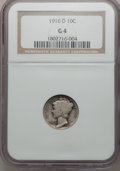 Mercury Dimes: , 1916-D 10C Good 4 NGC. NGC Census: (413/926). PCGS Population(1154/2306). Mintage: 264,000. Numismedia Wsl. Price for prob...