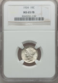Mercury Dimes: , 1924 10C MS65 Full Bands NGC. NGC Census: (101/76). PCGS Population(145/90). Mintage: 24,010,000. Numismedia Wsl. Price fo...