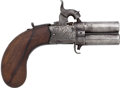 Handguns:Derringer, Palm, Wm. Wallas Wigton Swivel Breech Double Barrel Pistol....