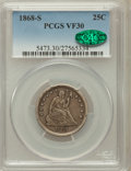 Seated Quarters: , 1868-S 25C VF30 PCGS. CAC. PCGS Population (9/28). NGC Census:(0/29). Mintage: 96,000. Numismedia Wsl. Price for problem f...