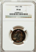 Proof Washington Quarters: , 1962 25C PR66 NGC. NGC Census: (489/1548). PCGS Population(558/1255). Mintage: 3,218,019. Numismedia Wsl. Price for proble...